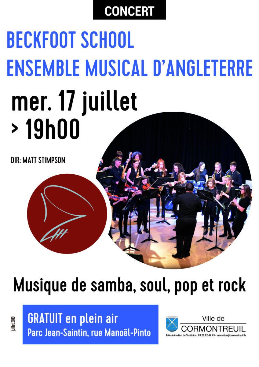 Cormontreuil concert Beckfoot School 17 juillet 2019 parc Jean-Saintin