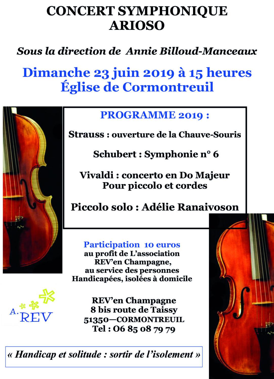Cormontreuil affiche concert symphonique Arioso 23 juin 2019 15h église