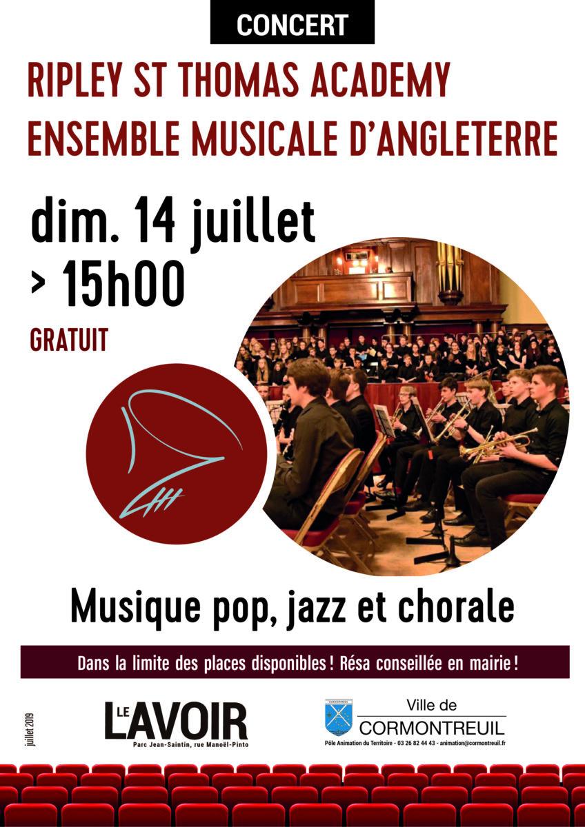 Cormontreuil concert Ripley Saint Thomas Academy 14 juillet 2019 15h Le Lavoir