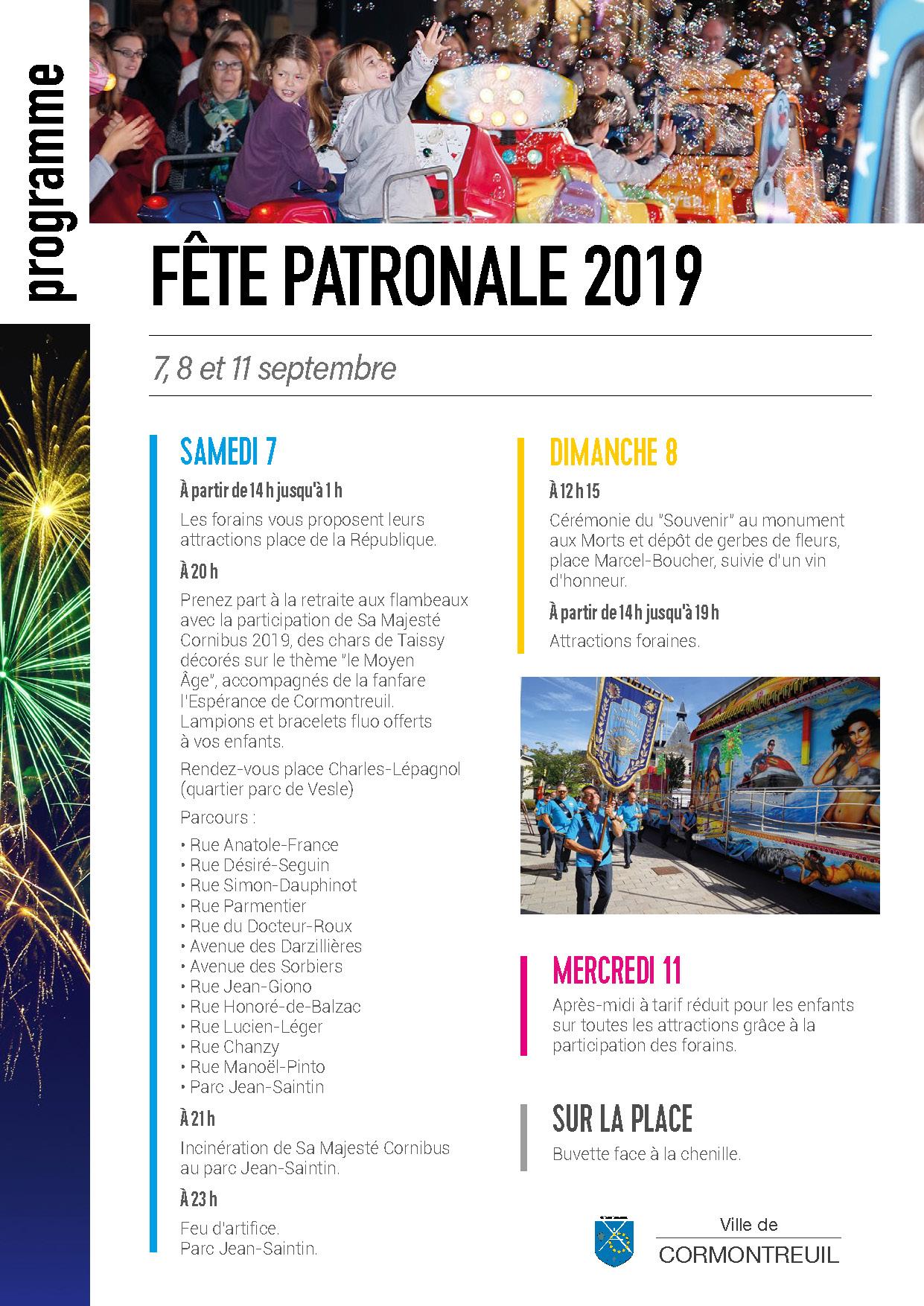 Cormontreuil programme fête patronale septembre 2019