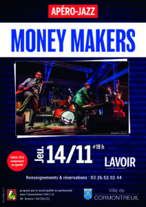 Cormontreuil apéro jazz Money Makers 14 novembre 2019 19h Le Lavoir