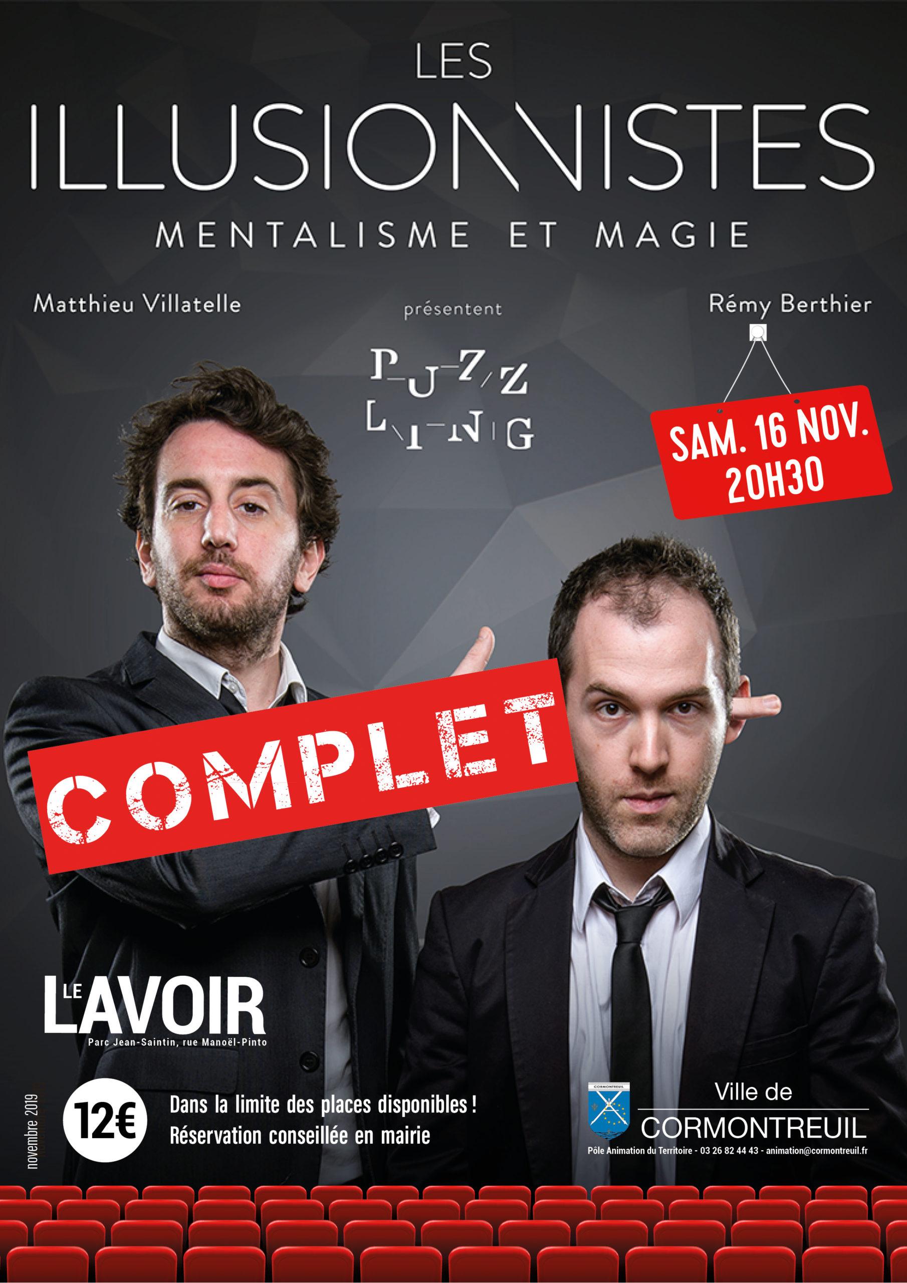 Cormontreuil affiche Les Illusionnistes spectacle mentalisme magie 16 novembre 2019 Le Lavoir