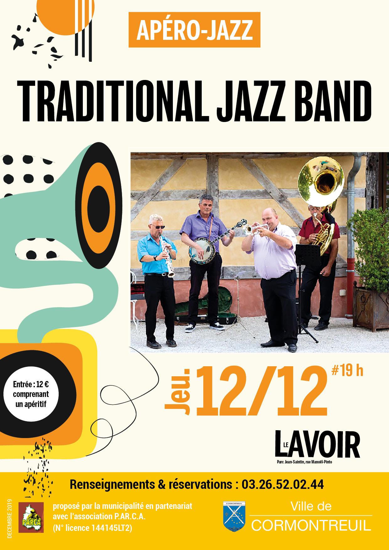Cormontreuil apéro jazz Traditional Jazz Band jeudi 12 décembre 19h Le Lavoir tarif 12 euros