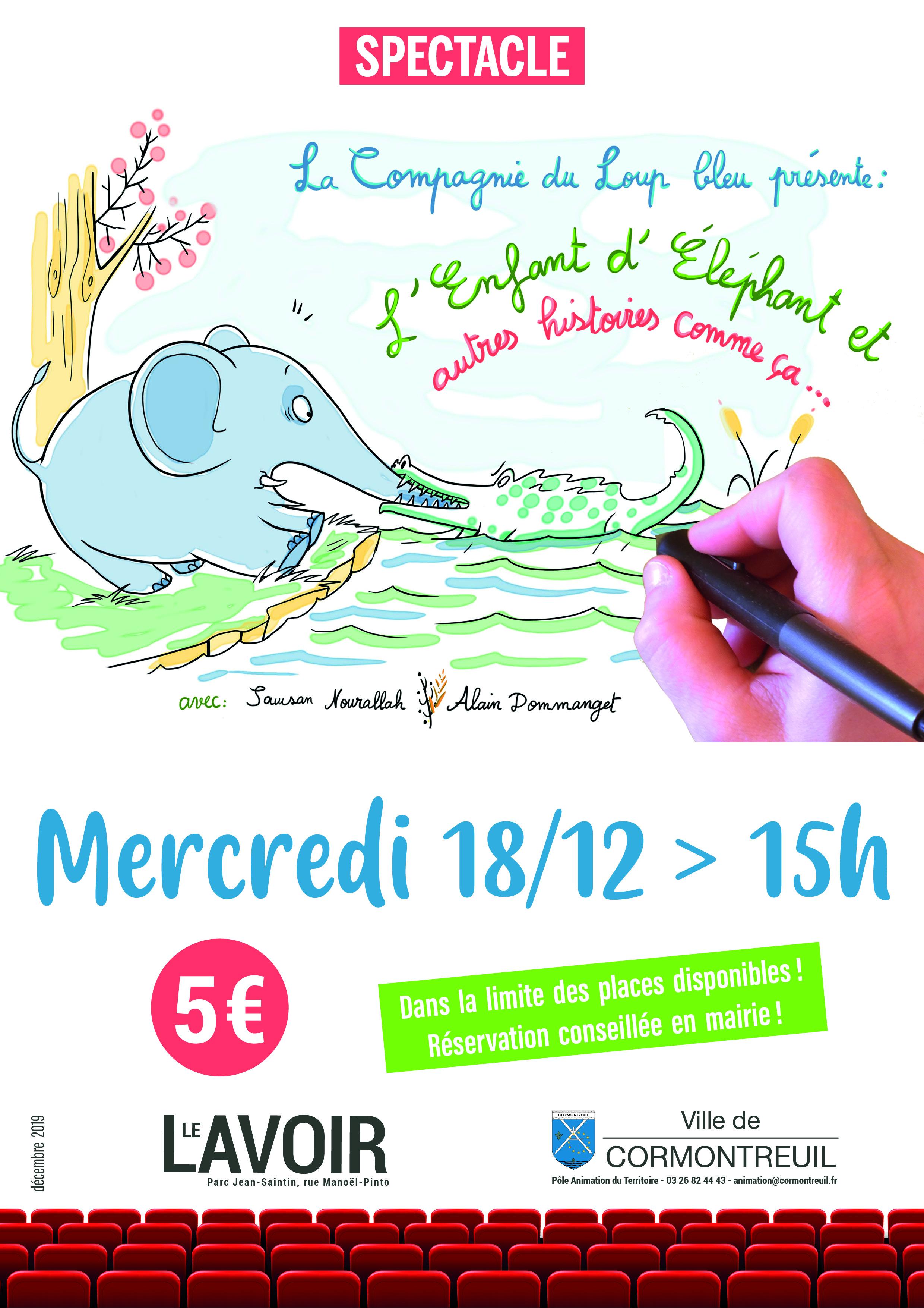 Affiche spectacle enfant éléphant 18 décembre 2019 Cormontreuil Le Lavoir