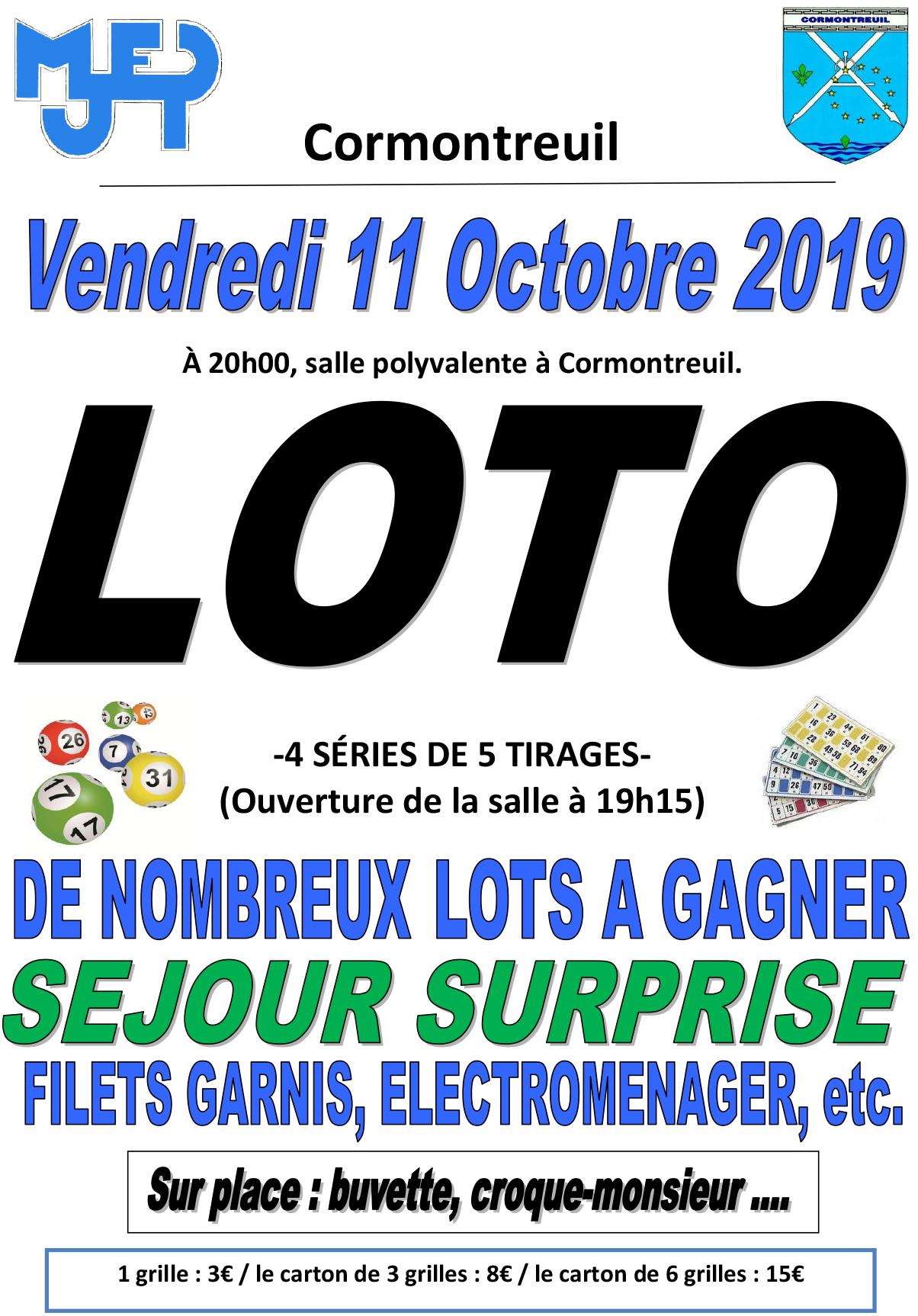 Cormontreuil 11 octobre 2019 20h salle polyvalente loto