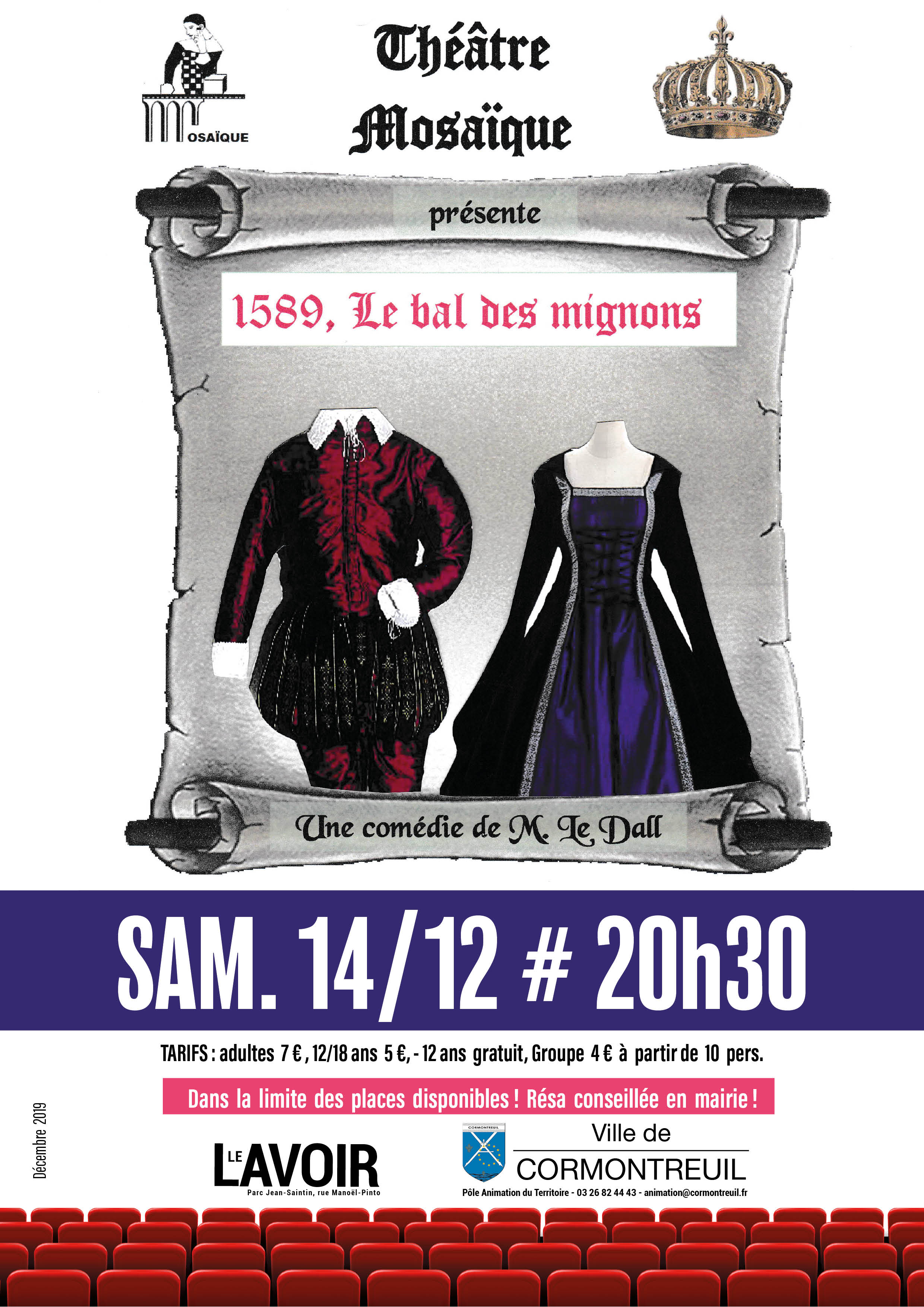 Cormontreuil affiche théâtre mosaïque 1589 le bal des mignons 14 décembre 2019 20h30 Le Lavoir