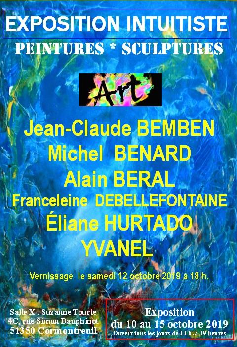 Cormontreuil affiche exposition intuitiste peinture sculpture 10 au 15 octobre 2019 salle Suzanne Tourte