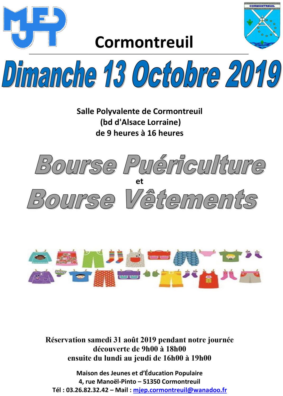 Cormontreuil affiche bourse puériculture vêtements 13 octobre 2019 salle polyvalente