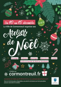 Cormontreuil affiche ateliers Noël du 10 au 15 décembre 2019