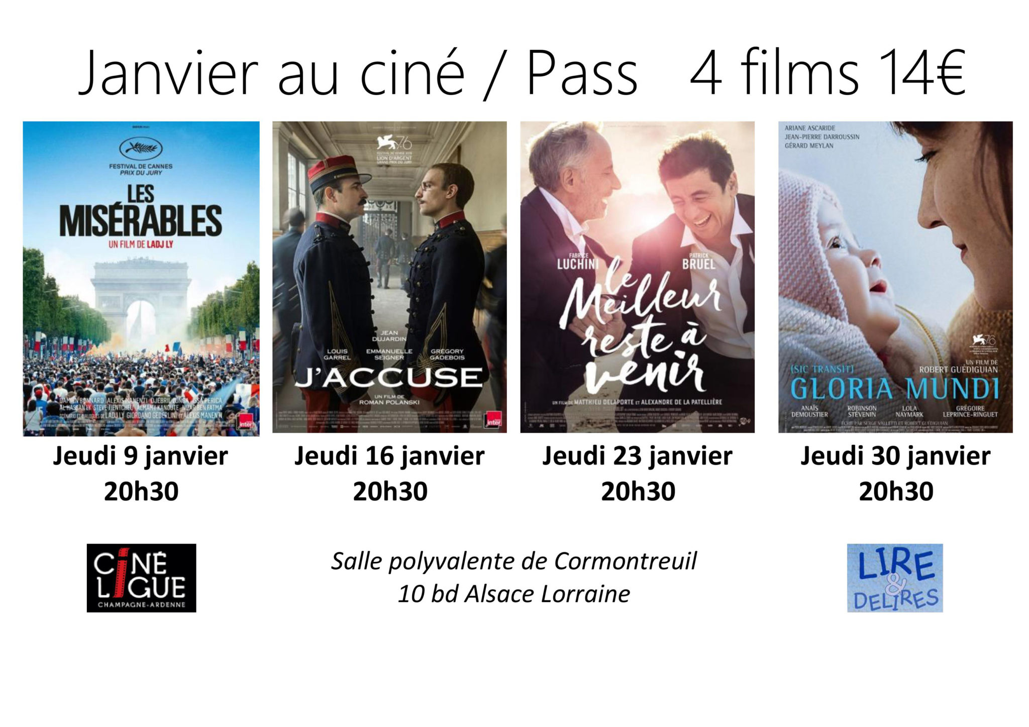 Cormontreuil programme séances cinéma salle polyvalente janvier 2020