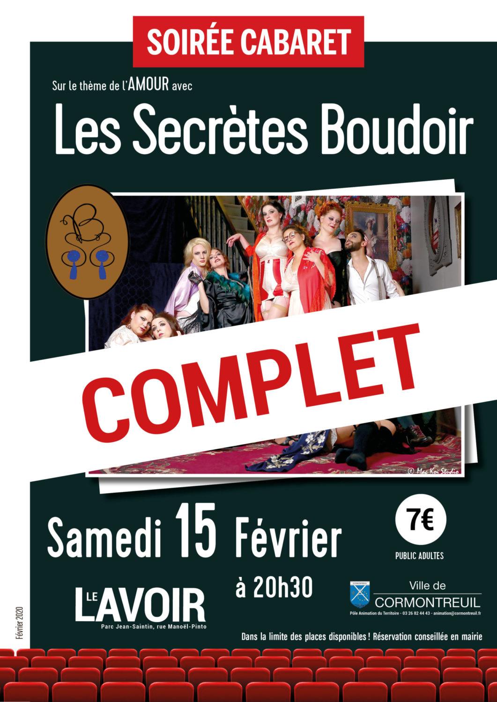 Cormontreuil soirée cabaret Les Secrètes Boudoir spectacle complet 15 février 2020 Le Lavoir 20h30