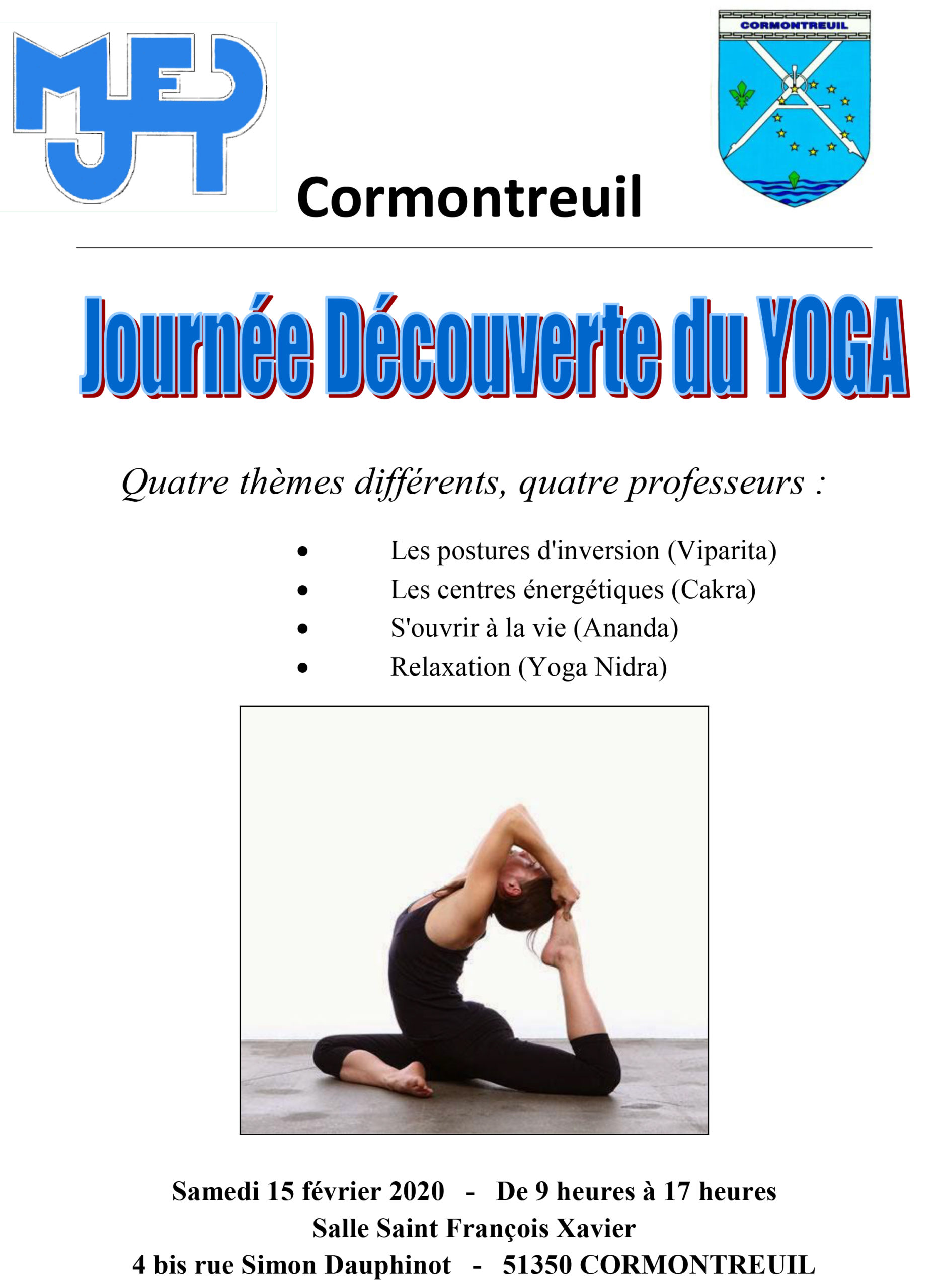 Cormontreuil affiche journée découverte yoga samedi 15 février 2020 de 9h à 17h