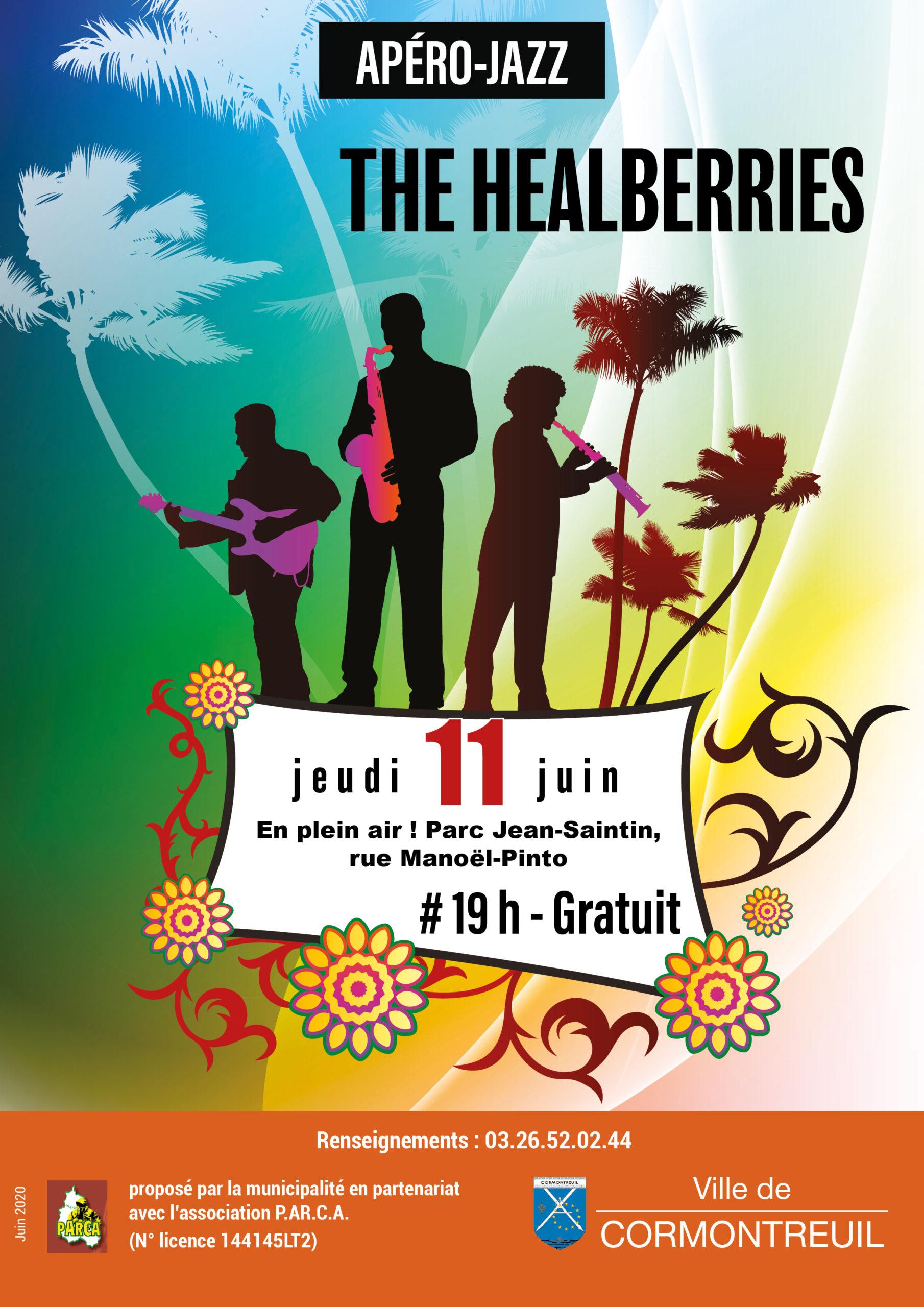 Cormontreuilaffiche apéro jazz The Healberries jeudi 11 juin 2020 parc Jean-Saintin 19h