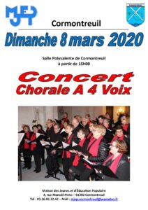Cormontreuil affiche concert chorale à 4 voix dimanche 8 mars 2020 salle polyvalente 15h