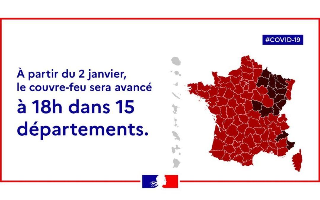 Anticipation du couvre-feu à 18h à partir du samedi 2 janvier 2021 dans la Marne